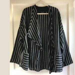 Olars Ulla Sweden Linen Black Striped Jacket OS